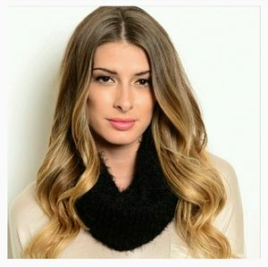Black Soft Knit Infinity Scarf